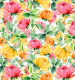 Flowers Watercolor oil painting textured seamless background Stock Photography