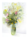 Flowers, watercolor painting stock photography