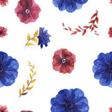 Flowers watercolor pattern Royalty Free Stock Images