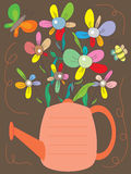 Flowers Watering Can Card_eps Stock Photo