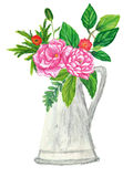 Flowers with watering can hand painted with oil panda crayons Royalty Free Stock Photography