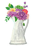 Flowers with watering can hand painted with oil panda crayons Royalty Free Stock Photo