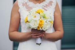 Flowers wedding bride rings Stock Image