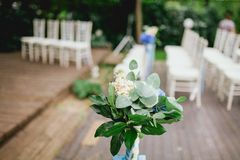 Flowers from wedding ceremony Stock Images