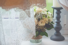 Flowers wedding decoration rings. Bride Stock Image