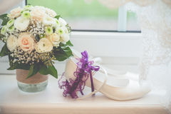 Flowers wedding decoration rings. Bride Stock Images
