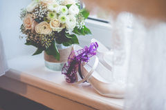 Flowers wedding decoration rings. Bride Royalty Free Stock Images