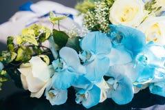 Flowers wedding decoration. Rings bride Stock Photos