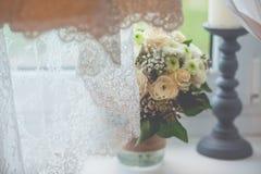 Flowers wedding decoration rings. Bride Royalty Free Stock Photo