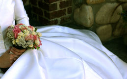 Flowers and a wedding dress. Wedding day royalty free stock photos