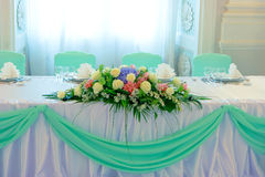 Flowers on wedding table Royalty Free Stock Image