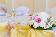 Flowers on wedding table Stock Image