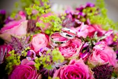 Flowers, Wedding, Wedding Rings Stock Images