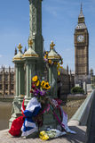 Flowers on Westminster Bridge Royalty Free Stock Photo