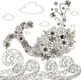 Flowers whale fish, ornament waves for coloring page, anti-stress. Vector illustration Stock Photo