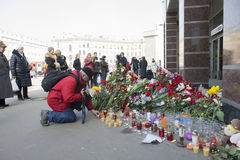 Flowers, which brought residents of St. Petersburg. Stock Image