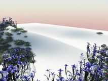 Flowers on a white beach sand dune Royalty Free Stock Images