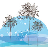 Flowers on white and blue background. Vector cartoon illustration of a vintage grafic flowers on white and blue background Stock Photography
