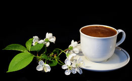 Flowers and white cup of coffee royalty free stock photography