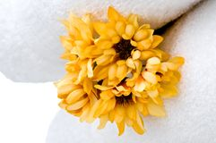 Flowers and white towels Royalty Free Stock Images