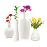 Flowers in white vases Stock Photography
