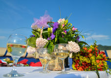 Flowers and white wine Royalty Free Stock Image