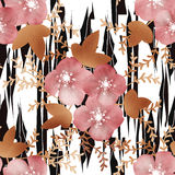 Flowers on wild skin leather seamless pattern background Stock Images