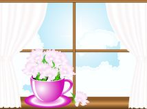 Flowers in window Stock Photography
