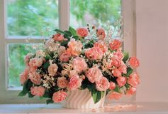 Flowers and Window Royalty Free Stock Photography