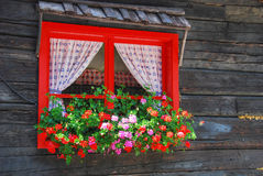 Flowers at the Window, Dolomites, Italy. Flowers at the window in a bright summer day Royalty Free Stock Photo