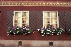 Flowers at windows. House with flowers at open shutter Royalty Free Stock Photography