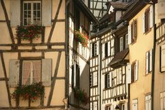 Flowers and windows in the city of Colmar France Royalty Free Stock Photography