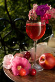 flowers  and  wine Stock Photography