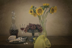 Flowers and Wine. Photo with wine, flowers and cheese Royalty Free Stock Photos