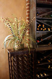 Flowers and wine rack. A view of flowers or a plant arrangement next to a wine rack Stock Photo
