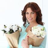 flowers woman стоковое фото rf