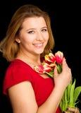 flowers woman стоковое фото