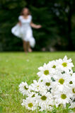 Flowers woman chrysanthemum. Bouquet of white chrysanthemum with woman in white dress running stock images