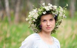 Flowers Woman Wreath Royalty Free Stock Photos