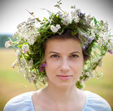 Flowers Woman Wreath Royalty Free Stock Photography