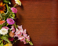 Flowers on Wood Stock Photos