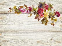 Flowers on wood texture background watercolor style Royalty Free Stock Photo