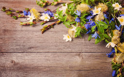 Flowers on woode background Royalty Free Stock Photo