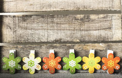 Flowers on wooden background. Wooden flowers on wooden background Royalty Free Stock Images