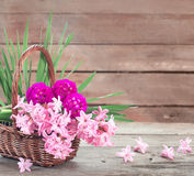Flowers on wooden background Royalty Free Stock Photos