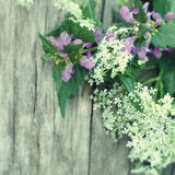 Flowers on wooden background Royalty Free Stock Images