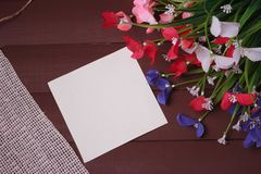Flowers on a wooden ,floral frame ,Spring or summer background Royalty Free Stock Photo