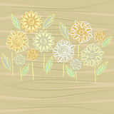 Flowers on wooden texture Royalty Free Stock Photo