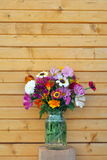 Flowers and wooden wall Stock Images