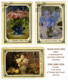 Flowers in the works of Russian and Soviet paintin Stock Image